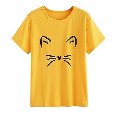 ZODOF Camiseta de Mujer Gato Imprimir Sin Tirantes Blusa O Cuello Sólido Manga Corta Tops t Shirt Moda: Amazon.es: Ropa y accesorios