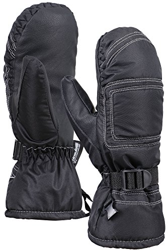 ANDORRA Women's Snow Thinsulate Lined Waterproof Ski Winter Mittens, M/L, Black