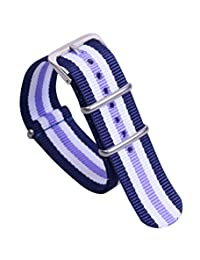 22mm Blue/White/Purple Deluxe Casual Durable Nylon NATO style Watch Straps Bands Replacements for Men