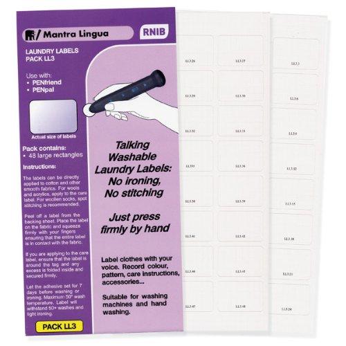 RNIB PenFriend Audio Laundry Labels-Pack 3- 48-pk