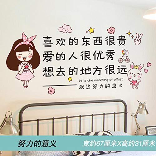 Texto inspirador decorativo para ninos pegatinas de escritorio dibujos animados anime pegatinas de pared autoadhesivas removibles-Significado del esfuerzo_Extra grande