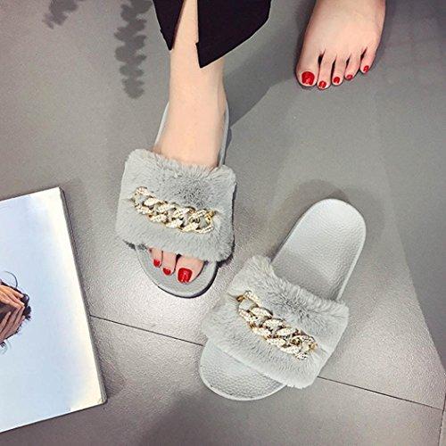 Wensltd Femmes Maison Pantoufle Slip Sur Sliders Moelleux Fausse Fourrure Pantoufle Plate Flip Flop Sandale Gris