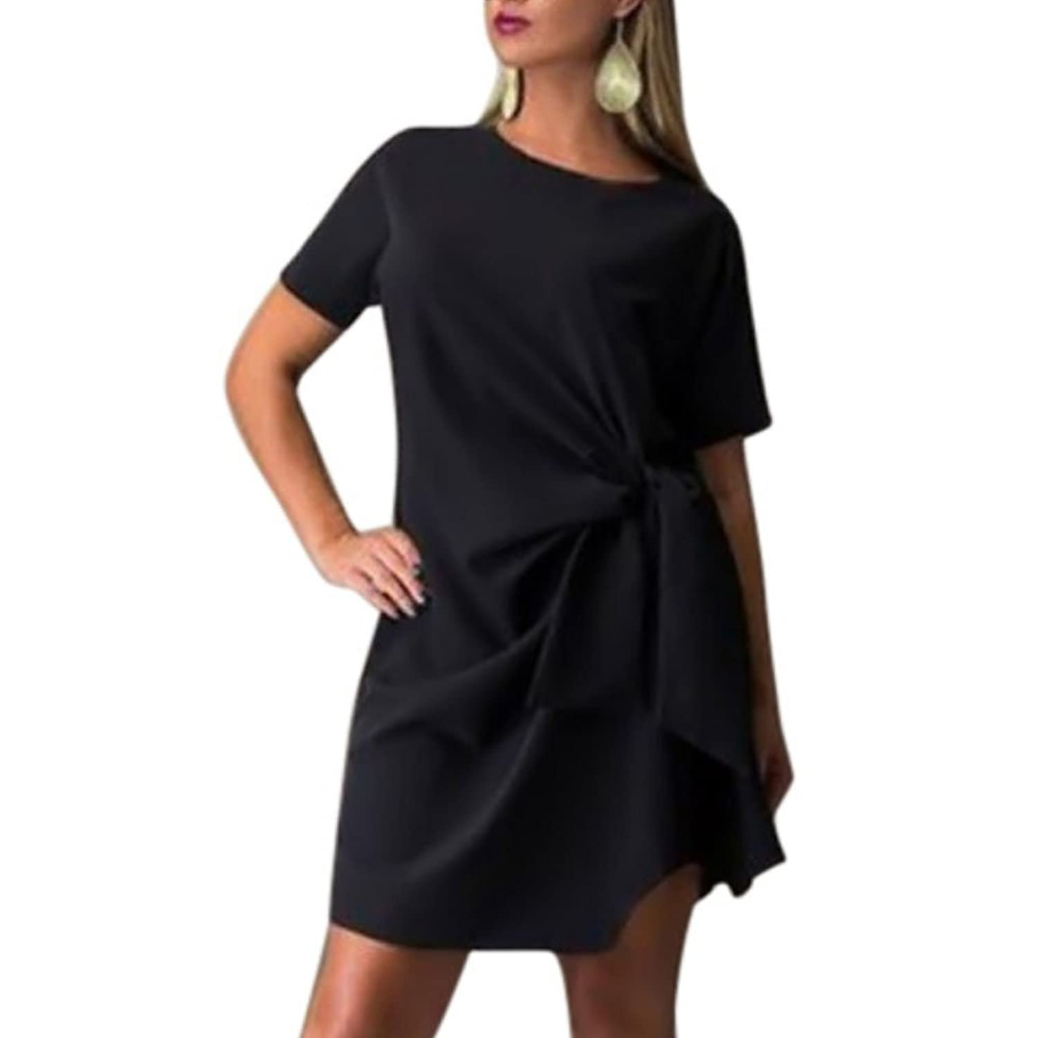 ROPALIA Damen Short Sleeve Plus Size Cocktail-Kleid Bodycon Minikleider