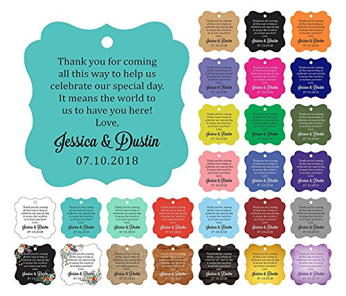 Darling Souvenir Custom Wedding Thank You Message Gift Tags Personalized Party Favor Hang Paper Tags-Metallic Gold-100 Tags ()