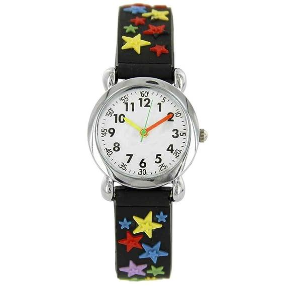 Reloj para aprender la hora niño Niña de silicona negro estrella: Amazon.es: Relojes