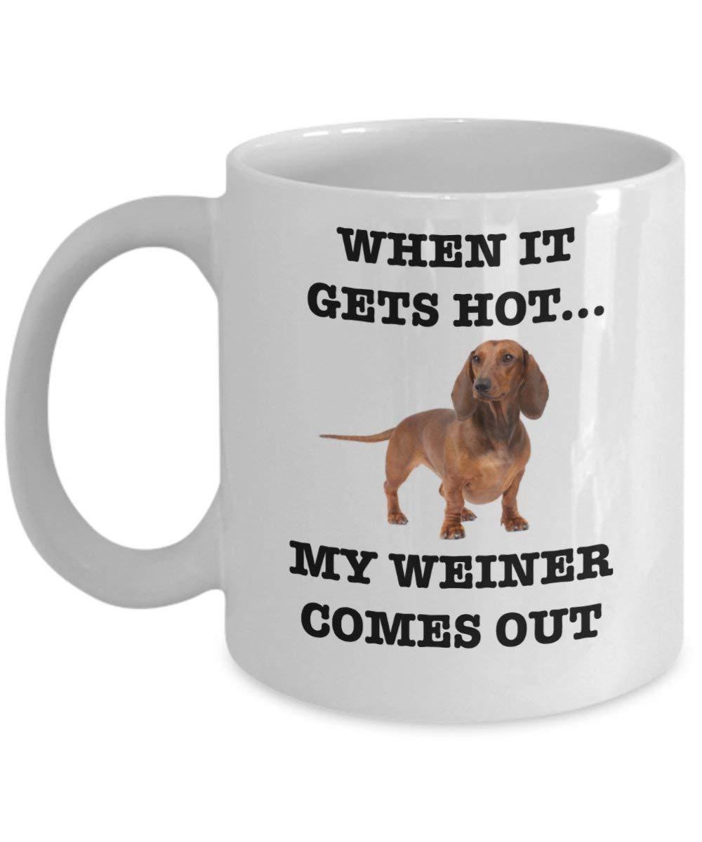When It Gets Hot My Weiner Comes Out マグカップ (ホワイト) 11オンス Weiner Dog コーヒーマグカップ は完璧な愉快なウィナー犬のギフト マグ商品 - I Love Your Weiner コーヒーマグ - ファニーホットドッグ ダックスフント マグ   B07HQD216D