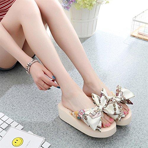 Zapatillas de deporte de las mujeres con la playa de la fricción del nudo de la mariposa del verano del pie del clip 2