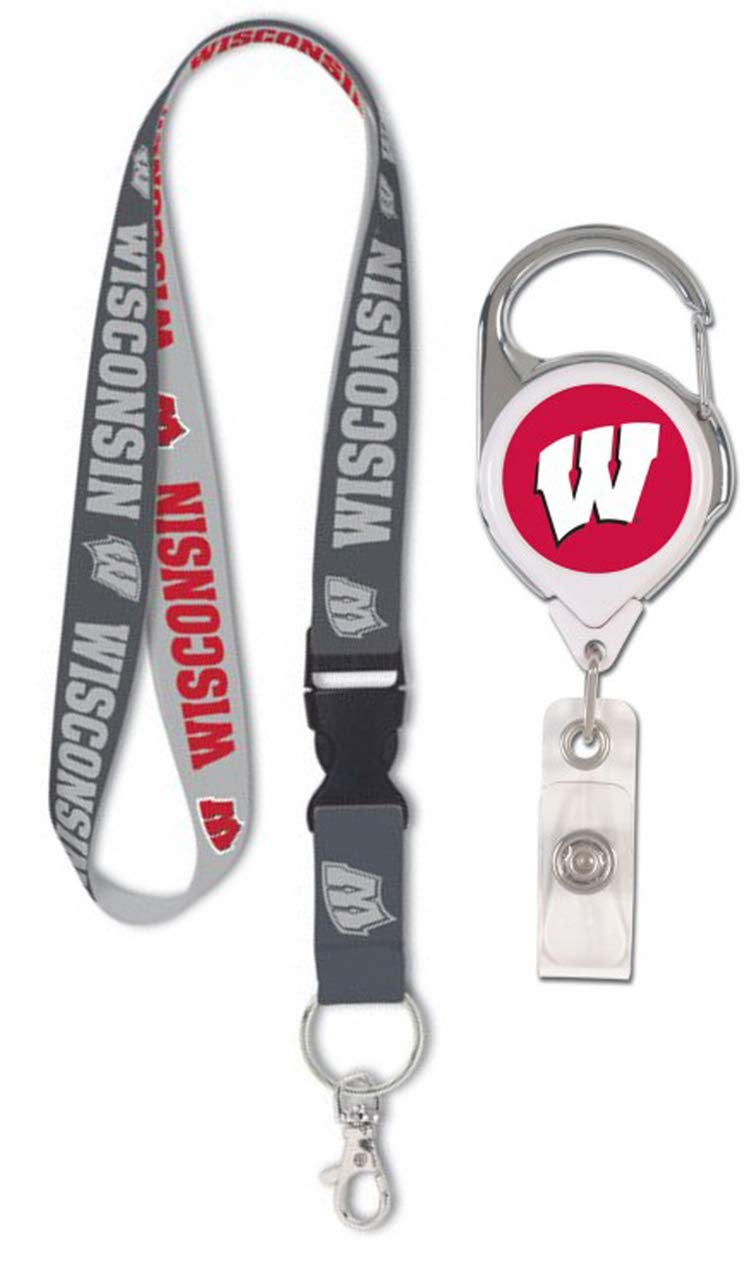 Bundle 2 Items Wisconsin Badgers Charcoal Lanyard and 1 Premium Badge Reel Id Holder with 2 Sided Graphics