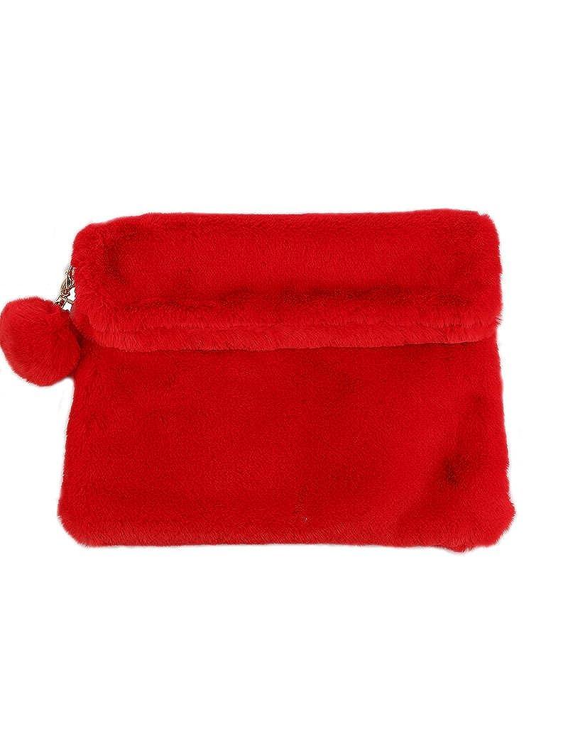 EKB19634RED Red Faux Fur Clutch Wallet Cross Body Handbag