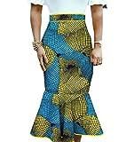 Abetteric Womens Mermaid Midi Dashiki Africa Floral Printed Fit Bodycon Skirt 13 XS