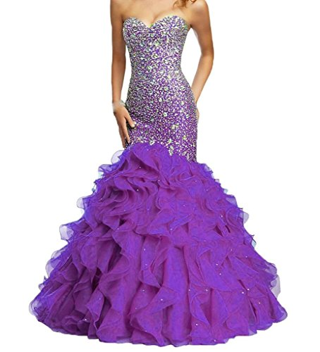 H.S.D Women's Sweetheart Mermaid Beaded Organza Long Prom Dresses Purple