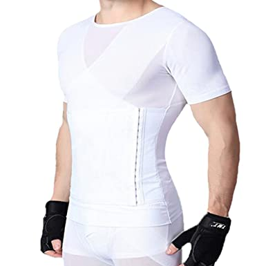 U-Pretty Herren Shapewear Schlank Bauch Hemd Body Shaper 042 (XL, Weiß) dd5367a34d