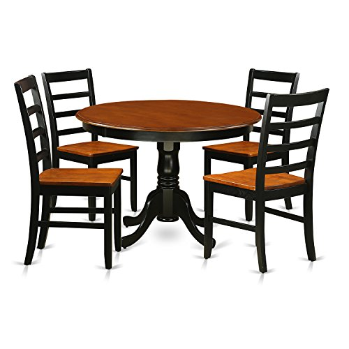East West Furniture HLPF5-BCH-W 5Piece Hartland Set with One Round 36in Dinette Table & 4 Kitchen Chairs with Faux Leather Seat in a Black & Cherry Finish