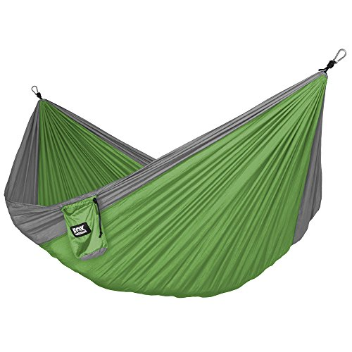Neolite Double Camping Hammock – Lightweight Portable Nylon Parachute Hammock for Backpacking, Travel, Beach, Yard. Hammock Straps & Steel Carabiners Included
