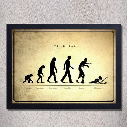 Zombie Evolution,Digital Print,Original Art,walking Dead,geek,vintage,cool,zombie,home  Decor,wall Decor,poster