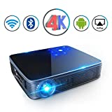 TOUYING M9 Mini Projector HD 3D DLP Max200'' Home Video Theater 3500 Lumens support 2K/4K Wireless WIFI Bluetooth Android System Game Office iPhone Multi-screen Sharing HDMI USB SD Card AV Black