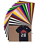 HTV Heat Transfer Vinyl Bundle - 28 Pack 12'x10' Assorted Color Sheets for Cricut Silhouette Cameo or Other Heat Press Machine - Iron On Vinyl for DIY T-Shirts Clothing Garment Bags Easy to Weed