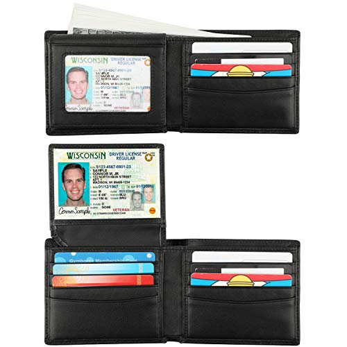 RFID Blocking Cowhide Leather Bifold Wallet for Men with 2 ID Windows(2 ID Window Black)
