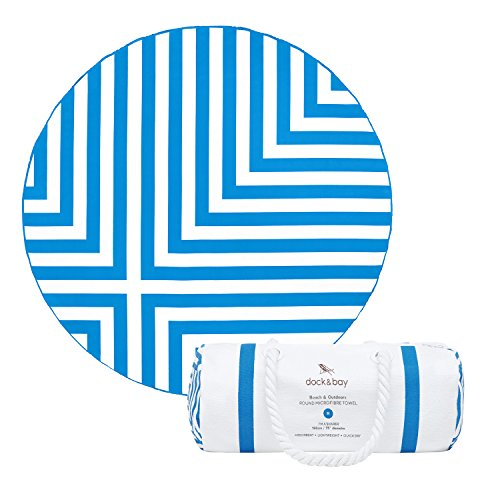 Velour Bag Towel (Round Beach Towel (Blue - Cross Design - 75x75