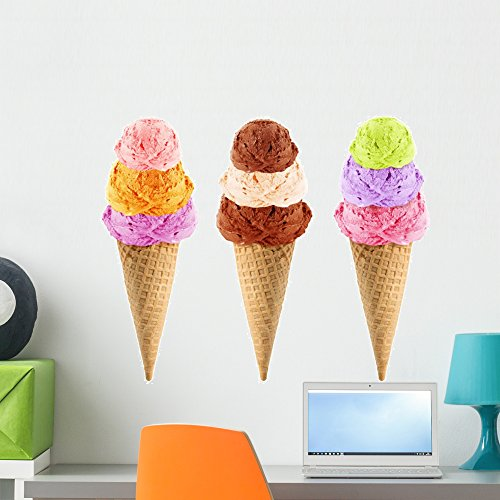 Cocoa Cone - Wallmonkeys Ice Cream Cone Wall Decal Peel and Stick Graphic WM50309 (24 in W x 21 in H)