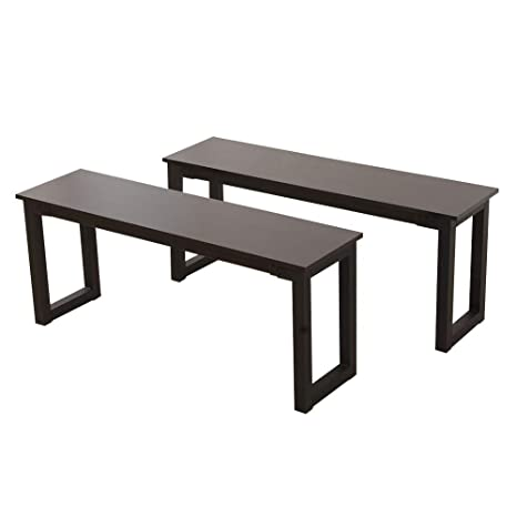 Fantastic Goujxcy Dining Bench 2Pcs Dining Chairs Seat Iron Frame Banquette Bench Entryway Bench Footrest Contemporary Narrow Bench For Dining Party Garden Pdpeps Interior Chair Design Pdpepsorg