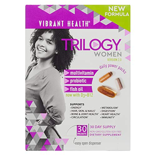Vibrant Health - Trilogy for Women - A Multivitamin, Fish Oil, and Probiotic, 30 Packets (Kirkland Active Vitamin Pack)