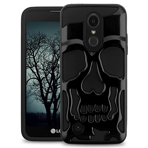 LG Tribute Empire/Aristo 2 / Aristo 3 / Aristo 2 Plus/Tribute Dynasty / K8 2018 Case, JoJoGoldStar Skull Design Hybrid, Heavy Duty Hard Cover with Screen Protector and Stylus - Black ()