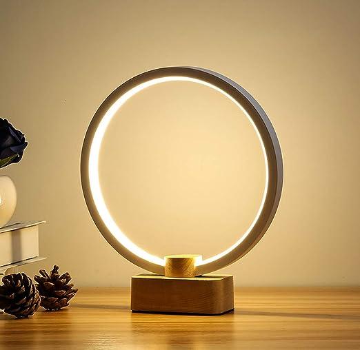 Lámpara De Mesa LED Circular, Lámpara De Mesita De Noche Regulable ...