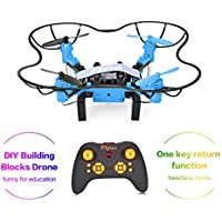 DIY Building Blocks Drones, FLYTEC T11 Quadcopter Drones Headless Mode one key Return with LED Lights Replacement Battery RC Mini Drones Great for Beginners(Blue)