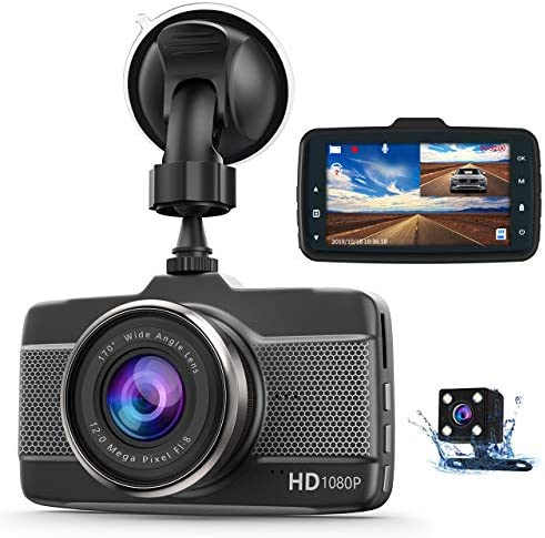 Dash Cam Car Camera Front and Rear Claoner FHD 1080P Dual Dash Cam Backup Car Camera with Night Vision, 3 Inch IPS Screen, 170 Wide Angle, Loop Recording, G-Sensor, Motion Detection, Parking Monitor