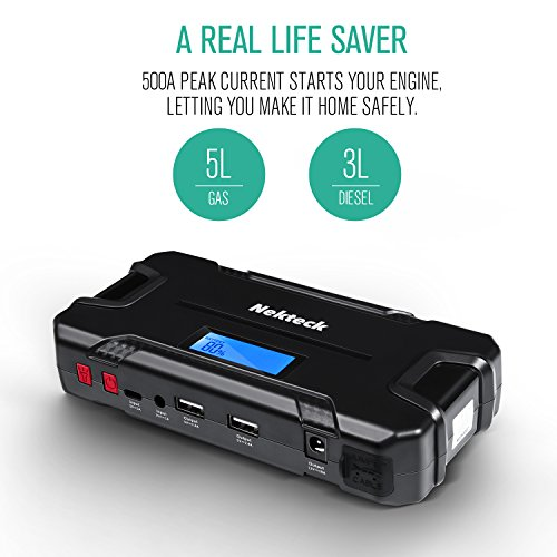 Nekteck Car Jump Starter Portable Power Bank External Battery Charger 500A Peak with 12000mAh - Emergency Jump Pack Auto Jumper for Sedan Van SUV Boat Smartphone USB Device and More by Nekteck (Image #1)'