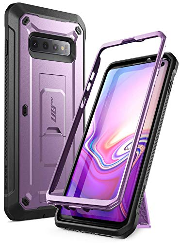 (SUPCASE Unicorn Beetle Pro Series Designed for Samsung Galaxy S10 Case (2019 Release) Full-Body Dual Layer Rugged with Holster & Kickstand Without Built-in Screen Protector (Purple) (Renewed))