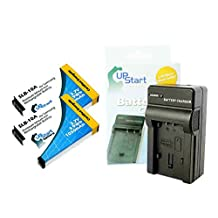 2 Pack - SLB-10A Battery Replacement + Charger (1050mah, 3.7v, Li-ion) for Samsung Digital Camera - Compatible with Samsung WB250F, Samsung WB150F, Samsung EX2F, Samsung WB200F, Samsung WB800F