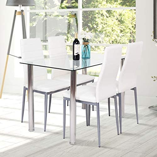 home, kitchen, furniture, kitchen, dining room furniture,  table, chair sets 10 on sale Tangkula 5 PCS Dining Table Set Modern Tempered deals