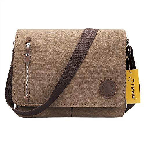 Fafada Mens/Womens Herren Canvas Freizeit Schultertasche Retro Umhängetasche Handtasche Schultasche Messenger Bag Typ2. Kaffee