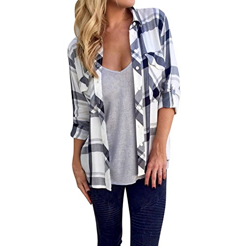 Jolisson Women Shirt Plaid Long Sleeve Turn Down Collar Blouse Top Spring Summer White US 2/TAG S - Womens Flannel Top