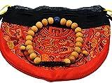 Tibetan Wood Wrist Mala/ Bracelet with Lapis Spacer Free Silk Mala Pouch