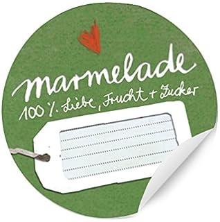 24 Runde Aufkleber Marmelade, 100% Liebe, Frucht U0026 Zucker! Schöne Grüne  Marmeladenetiketten