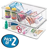 mDesign Storage Box Organizer for Vitamins, Supplements, Health Supplies - Set of 2, Divided, Clear