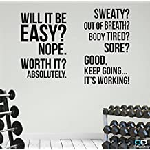 Two Large Home Gym Motivational Wall Decal Quotes Fitness Exercise. Great Savings