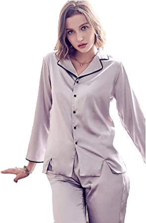 Escote Jersey Pijamas Mujer Servicio a Domicilio Camisa Mujer Mujer Pantalones de Manga Larga Camisa Cuello Moda Servicio a Domicilio Traje Mujer Conjuntos Deportivos (Color : Gray, Size : S): Amazon.es: Hogar