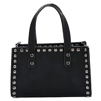 a5b7c6d7f Bolso de Cuero de Las Mujeres de la Vendimia de la PU Bolso sólido Bolso de  Hombro de la Cadena de Las señoras Black 25cm: Amazon.es: Equipaje