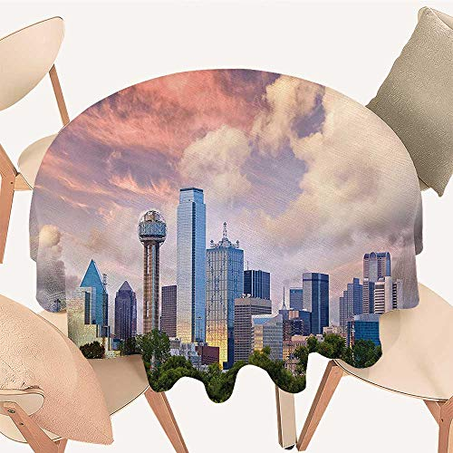 Dragonhome Round Tablecloth Dallas City Skyline at Sunset Clouds Texas Highrise Skyscrapers Landmark for Wedding Restaurant Party, 63 INCH Round ()