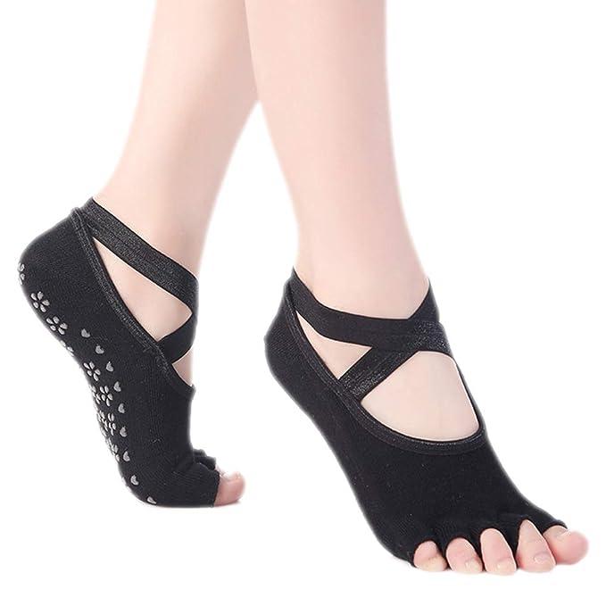 Leisial Calcetines Yoga Sin Dedos Silicona Antideslizante para Deporte Fitness Gimnasio Baile Barre Pilates de Mujeres