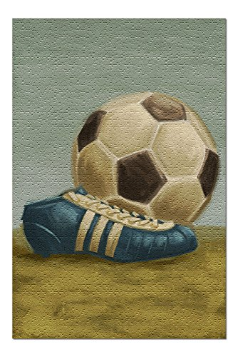 Soccer Ball and Cleat - Oil Painting (20x30 Premium 1000 Piece Jigsaw Puzzle, Made in USA!)