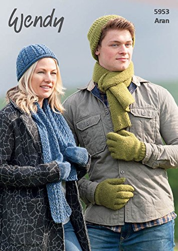 Wendy Mens & Ladies Hats, Scarves, Gloves & Mittens Knitting Pattern 5953 (Mens Scarf Knitting Pattern)