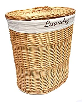topfurnishing Brown Wicker Round Laundry Basket Bin Toilet Roll Holder + Lining[Bin:26x26.5cm]