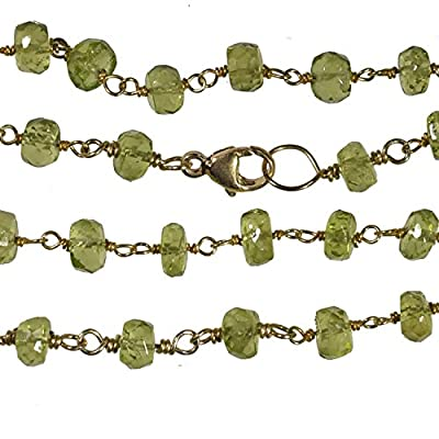 Peridot Faceted Necklace Gold-tone Links 18 Inch