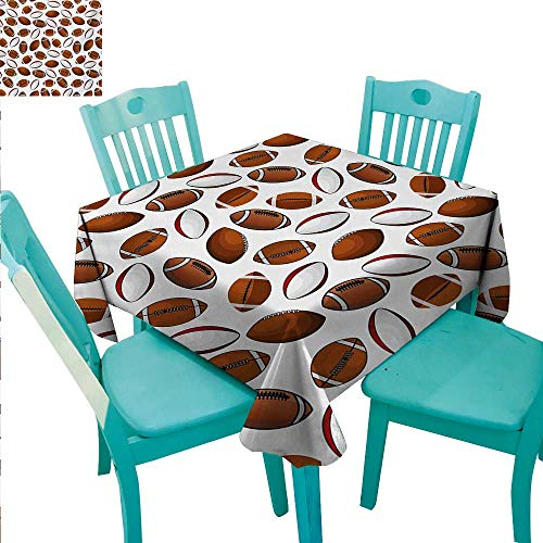 American Football Easy Care Tablecloth Classic Design Rugby Balls in Cartoon Style Sports Competition Runners,Gatsby Wedding,Glam Wedding Decor,Vintage Weddings 54
