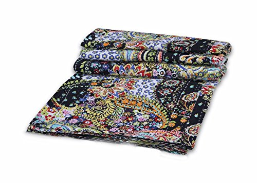 V Vedant Designs Indian Handmade Cotton Kantha Quilt Throw Blanket Bedspread Gudari (Black Paisley Twin) (Tropical Quilt Fabric)